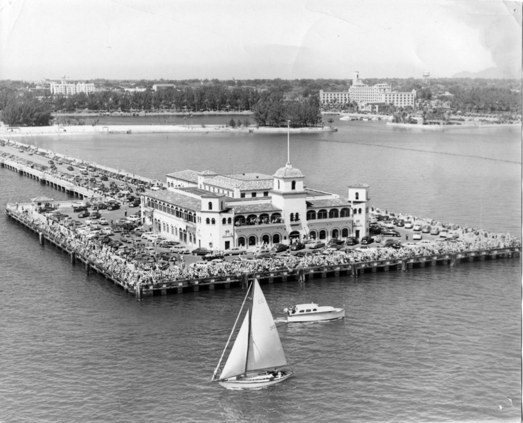 old black and white aerial of pier