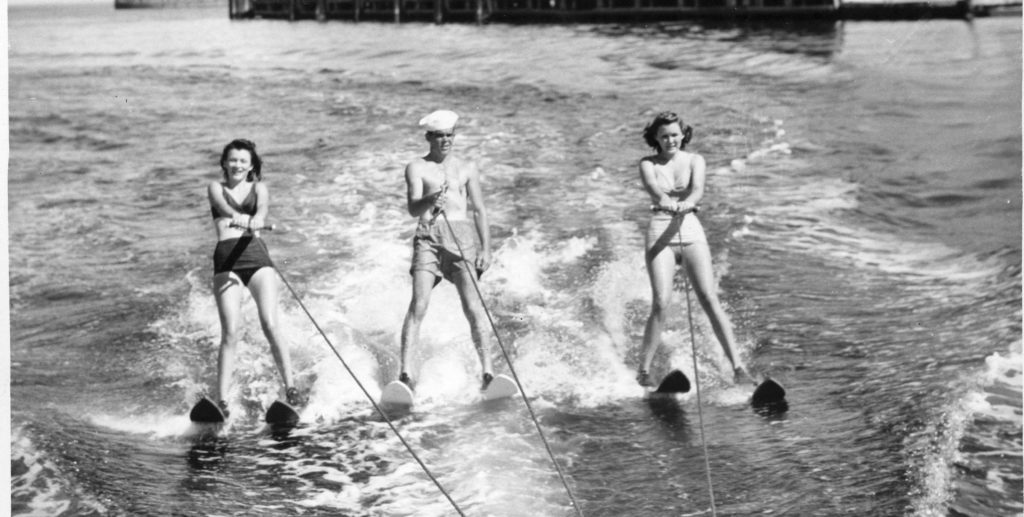 black and white photo of waterskiing