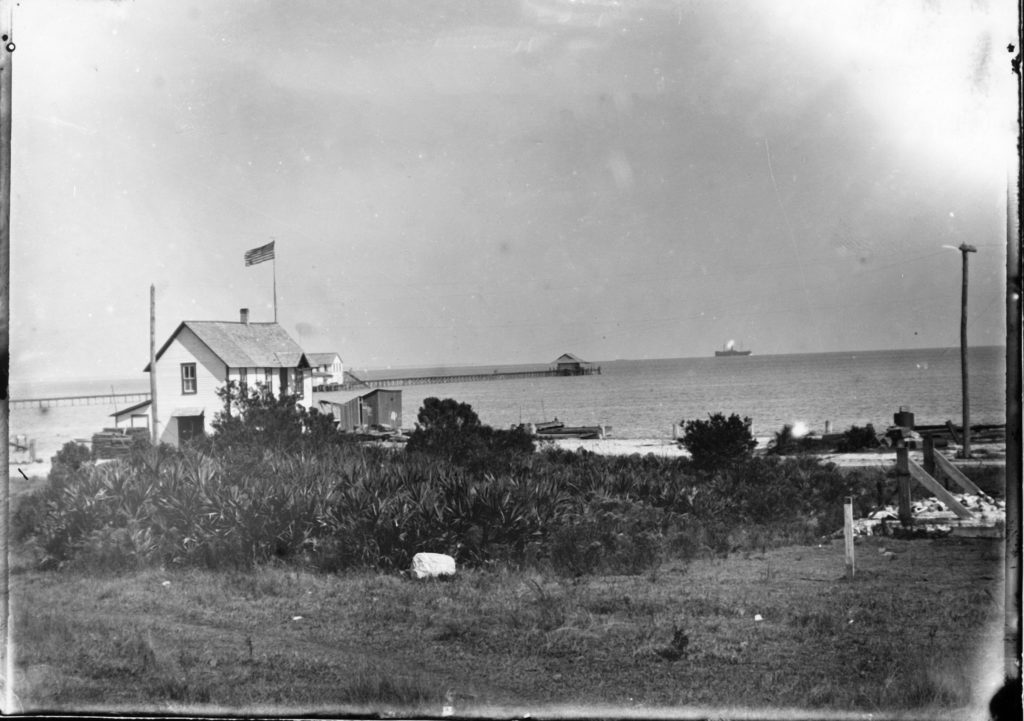 old black and white photo of brantley pier