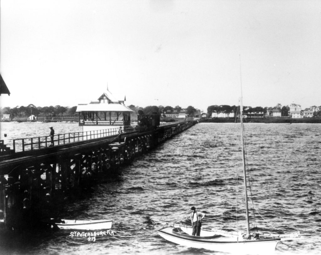old black and white photo of railroad pier